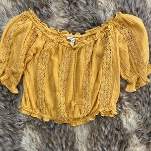 Boho Yellow Blouse American Eagle Outfitters